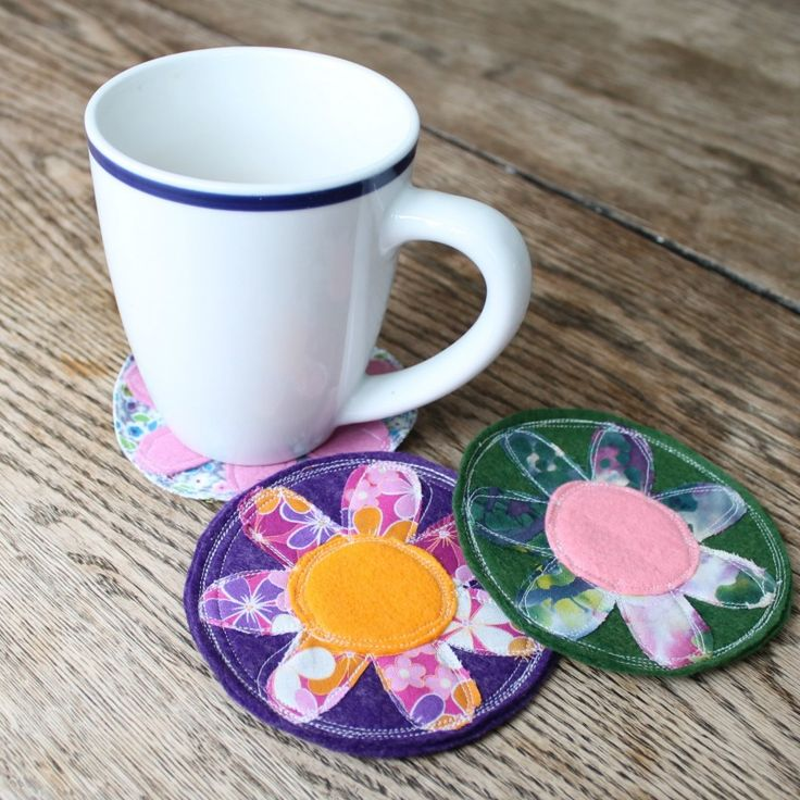 spring coasters--free template.  I love the messy look.