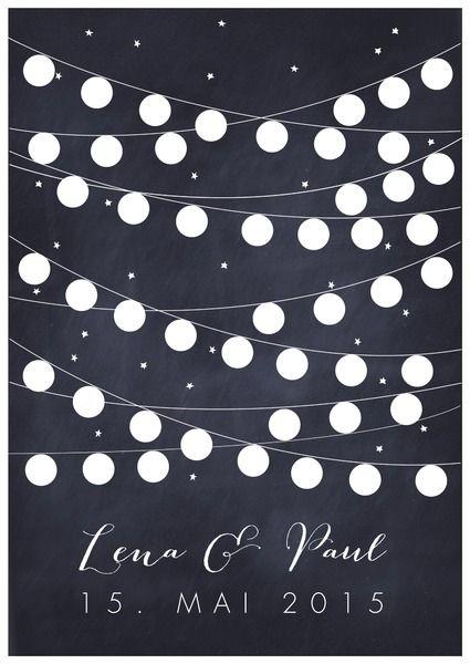 """*Bild zur Hochzeit """"Lampions""""* in schwarzweiss Ein ganz persönliches Geschenk zur Hochzeit, auf dem die Menschen, mit denen das Brautpaar diesen besonderen Tag verbringt, unterschreiben..."""