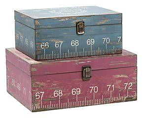 Set di 2 scatole in legno Colle - max 39x25x14 cm