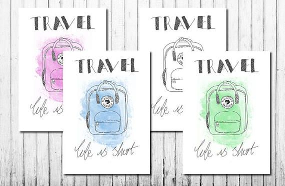 Minimalist 'Travel You Only Live Once' Print inspired