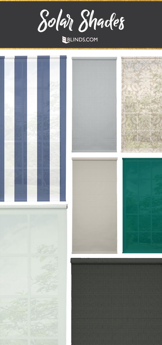 Block heat and harsh sun without losing your view! Choose from 100s of colors and patterns for Solar Shades at Blinds.com.