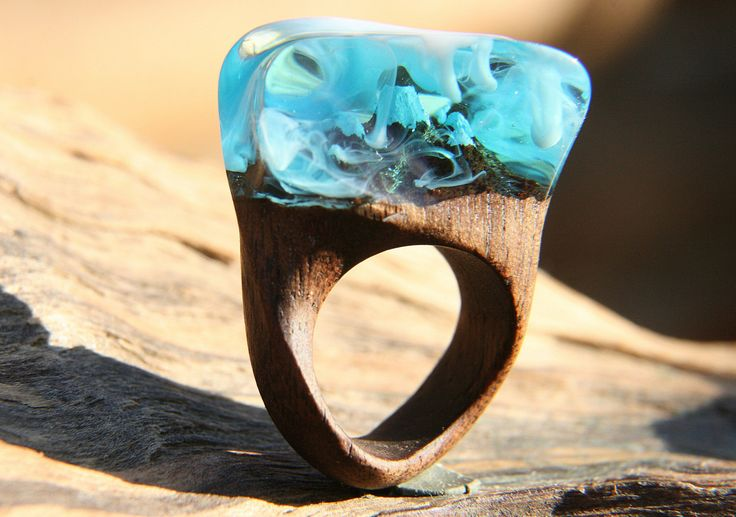 """Large Natural Wood Resin Ring """"Through the Clouds"""", Natural Jewelry, Wood Ring, Eco Ring, Blue sky Ecopoxy Resin, Exclusive Ring, Xmas Gift by NellyRomanova on Etsy"""