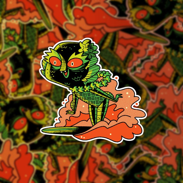 Surfing creature sticker for slaptastick andrew kolb