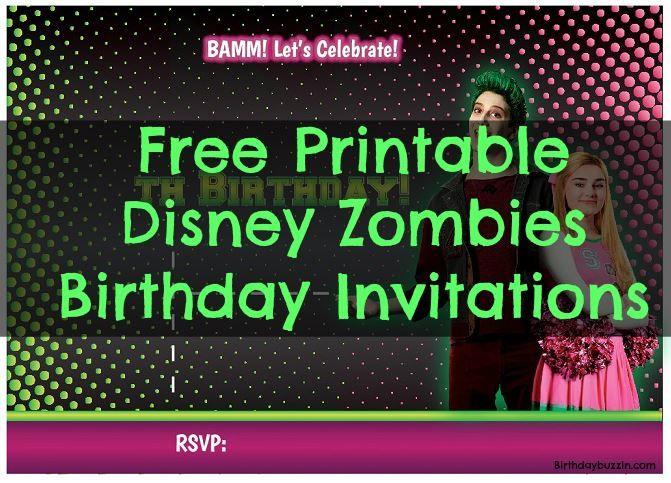 free printable disney zombies birthday party invitations