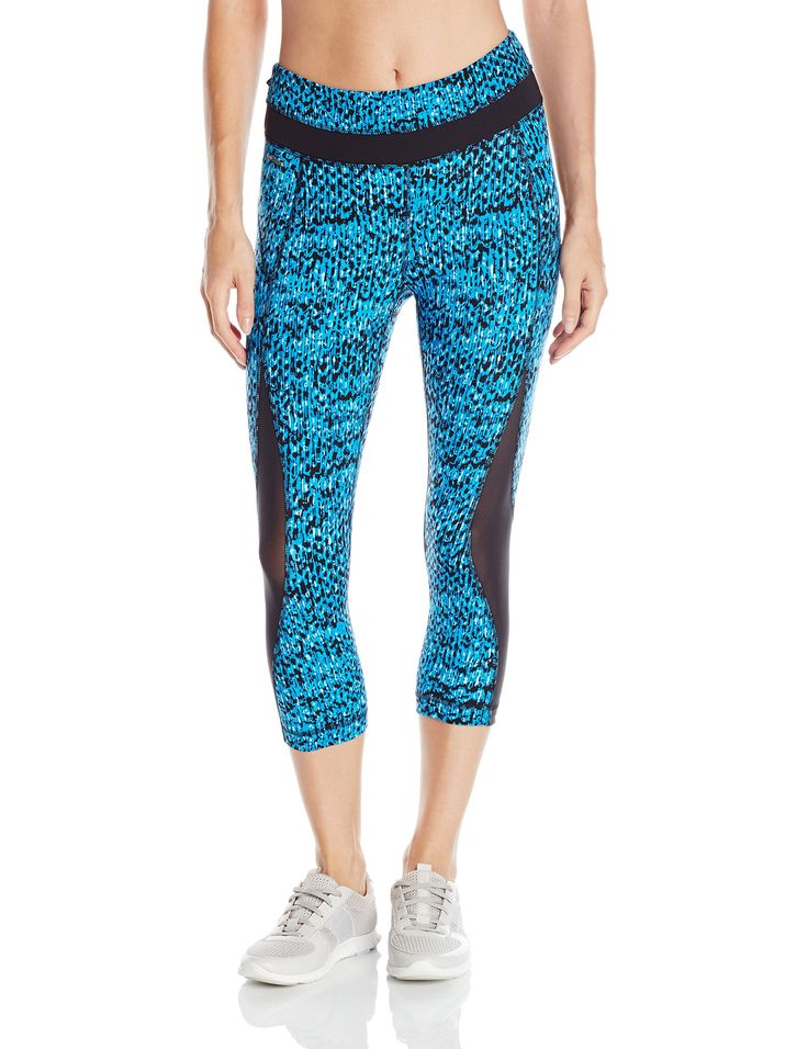 LOLE Women's Run Capri Pants , Electric Blue East, XX-Small. Zip pocket at back. Lined gusset at crotch. Flat seams for comfort. Shaped fit design. Mid rise waist.