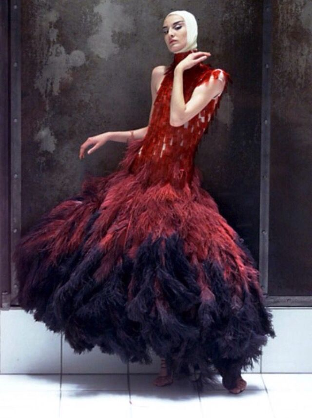 Dress of dyed ostrich feathers and hand-painted microscopic slides, Alexander  McQueen, Voss,