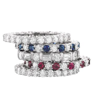 Diamond Eternity Bands. Choose one with the birthstone of the new baby.  Add a new ring for each baby.
