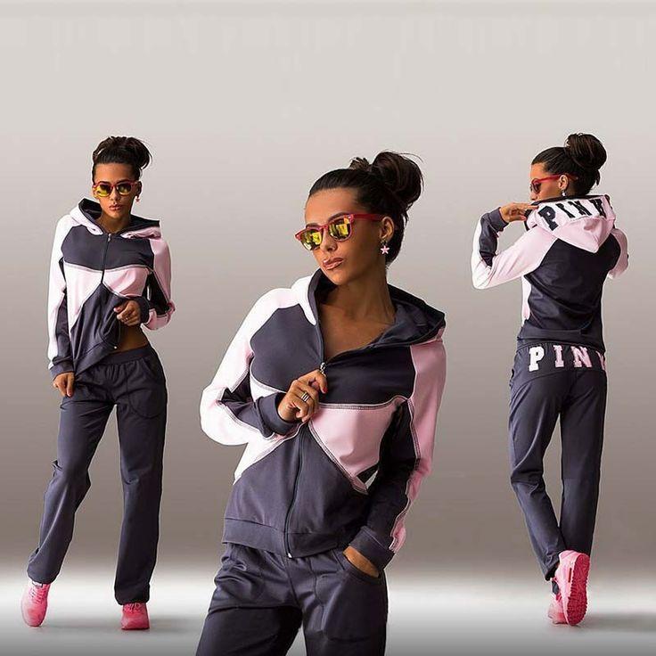 (1) Sports Suit Jogging Suits For Women Letter vs Pink Print Sport Suit Hoodies Sweatshirt +Pant - EMILY TOWN LLC