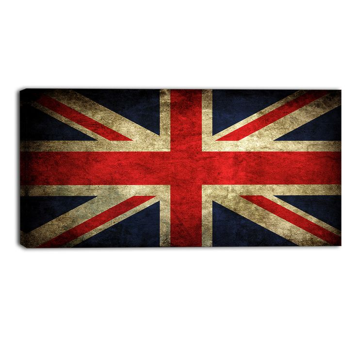 Vintage UK Flag Contemporary Graphic Art on Wrapped Canvas