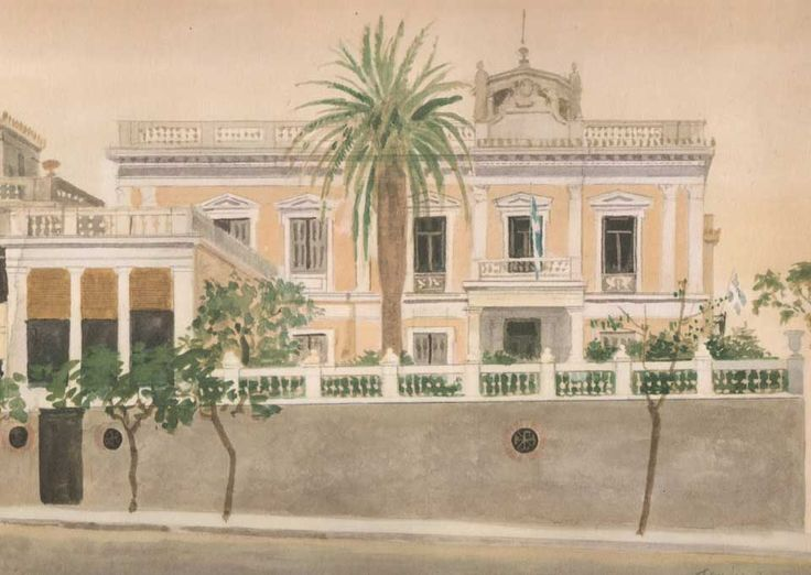 Houses in Greek painting - Yiannis Tsarouchis-NJH Studio