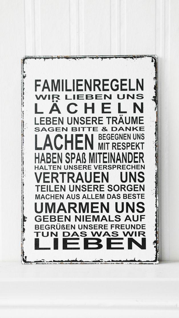 Superb T r u Namensschilder XL xcm Shabby Vintage Schild FAMILIENREGELN ein Designerst ck von homestyle