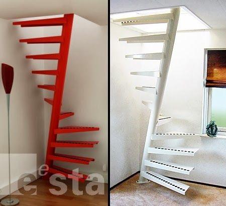 O eixo inclinado aumenta o comprimento dos degraus e a escada caracol fica mais confortável