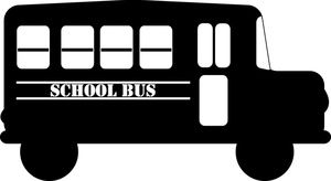 School Bus Clipart Image - Cartoon school bus in black and white