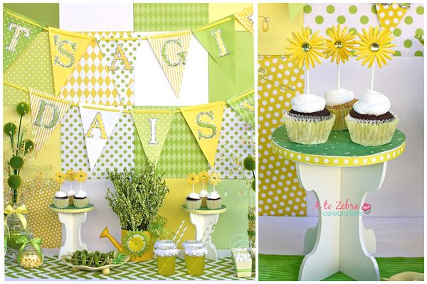 Yellow and Green Baby Shower: Daisy Dessert Table