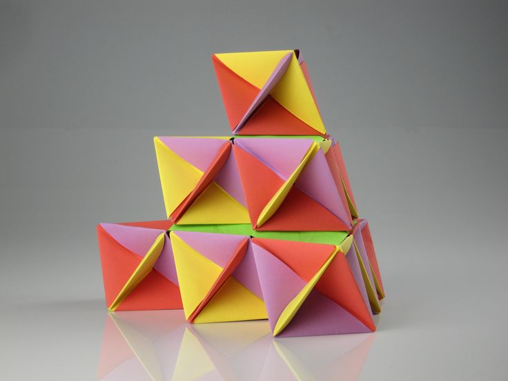 Colourful origami design created during origami workshop with Plico Design.