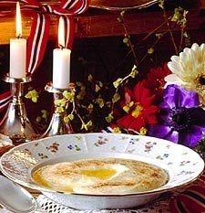 Recipe for rømmegrøt Bring to boil 1 qt. milk, 1C. Whipping cream / in bowl combine 1 c. Melted butter, 3/4 C. Flour. Add to boiling mix. Stir constantly until thick. Add 1/2 C. Sugar. Place in crockpot on low until ready to serve. Optional top w/ cinnamon