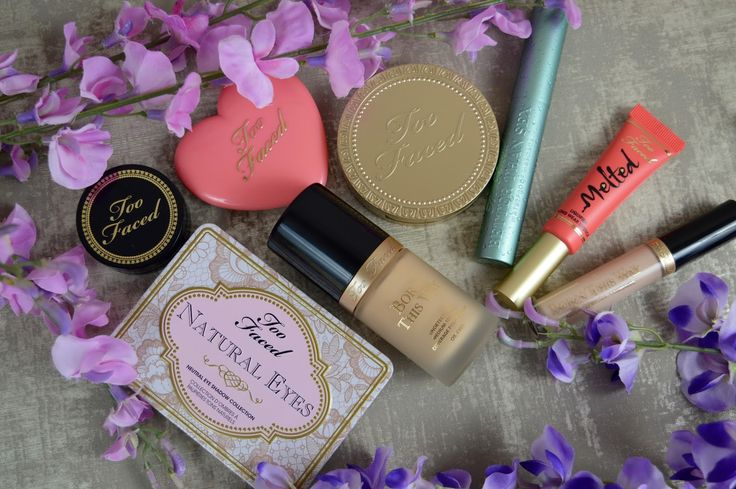 Too Faced Makeup. Chocolate Soleil Bronzer, Born This Way Foundation, Born This Way Concealer, Bulletproof Brows, Better Than Sex Mascara, Melted Lipstick, Natural Eyes Eyeshadow Palette, Love Flush Blush Love Hangover.