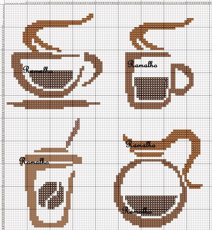 Coffee set perler bead pattern--could convert to cross stitch