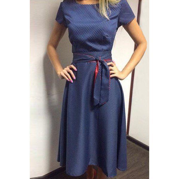 Vintage Short Sleeve Polka Dot Printed Belted Midi Dress For Women