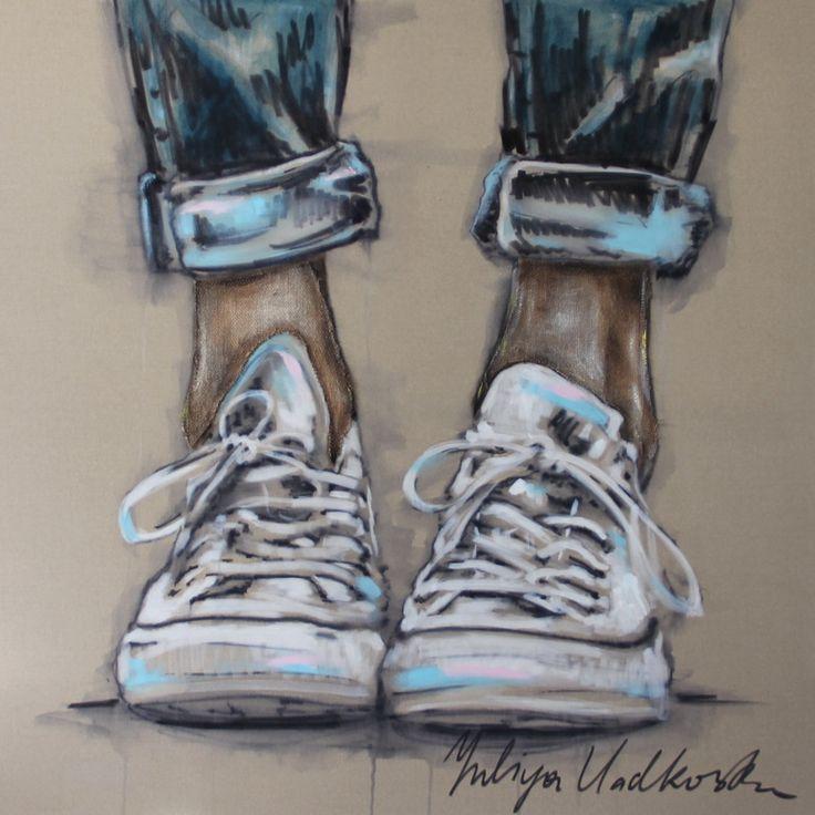 "Converse shoes painting // Saatchi Art Artist: Yuliya Vladkovska; Acrylic 2013 Painting ""allstars"""