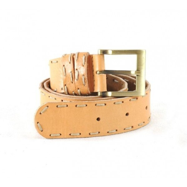 Leather belt with suede lining with one row of manual stitching as decoration, width 40 mm.