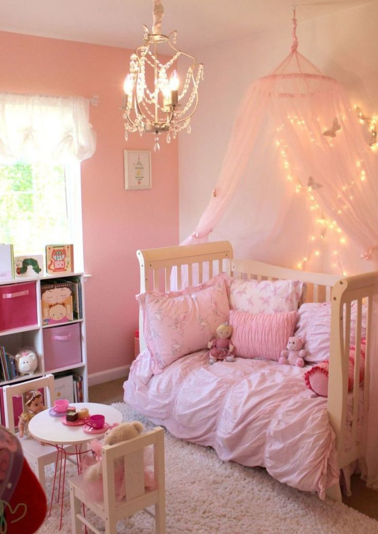 Toddler girl bedroom idea - love the canopy with lights!