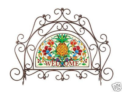 TROPICAL PINEAPPLE * WELCOME ARCH FIREPLACE SCREEN w/ ART PANEL ~ Antique White #Tropical