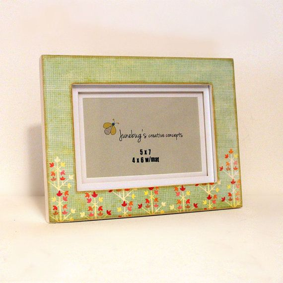 5x7 Photo Frame Green Spring Flowers by JunebugsCC on Etsy, $26.00