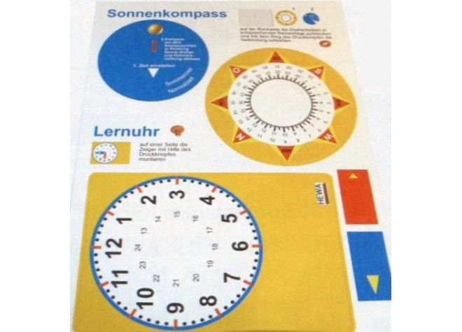 Bastelbogen Lernuhr / Sonnenkompass (5 Stück) von HEWA Lehrmittel bei Spielundlern online bestellen