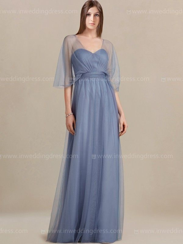 Destination bridesmaid dress features in Tulle overlay. Sheer V-neck overlay is artfully designed with enough coverage and draped for a beautifully flattering silhouette. This long bridal party dress will surely make your party more interesting! Zipper back closure. Available in 60 colors, shown in Cornflower.