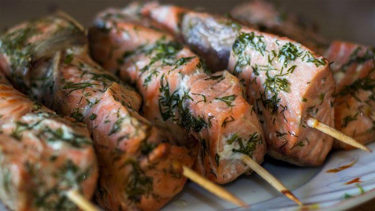 Шашлык из красной рыбы (семги, лосося, форели). Как мариновать рыбу для шашлыка