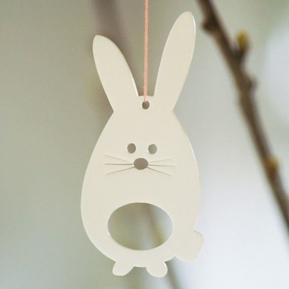 easter bunnies in white transparent plexiglas by spagat on Etsy, $14.00