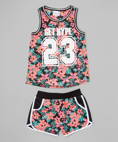 Loving this Black Floral 'Get Hype' Tank & Shorts - Infant, Toddler & Girls on #zulily! #zulilyfinds