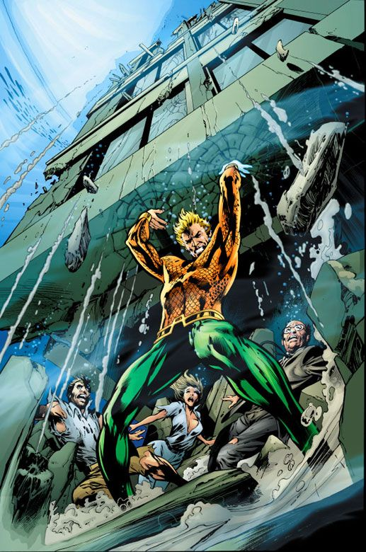 Aquaman lifting a building with his SUPER STRENGTH. On land, you'll notice!