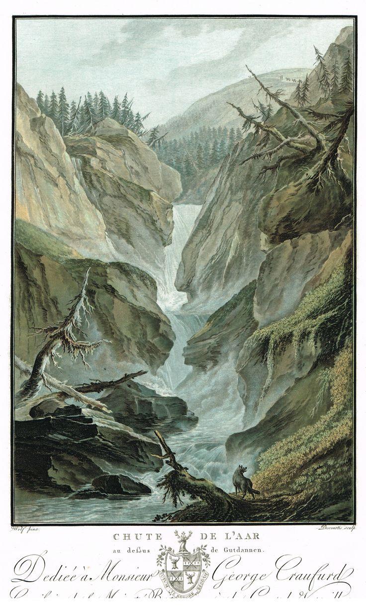 Chute de l'Aar au dessus de Gutdannen - Aquatinte - gravure imprimée en couleurs par Charles-Melchior DESCOURTIS (1753-1820) d'après Caspar WOLFF (1735-1798) - MAS Estampes Anciennes - MAS Antique Prints