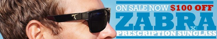 Typhoon's ZABRA Rx sunglass (made in Italy) is on SALE for $100. This limited time offer is a huge discount for a polarized prescription sunglass - available with single-vision or progressive lenses.