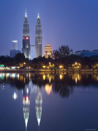 Petronas Twin Towers and Lake, Titiwangsa Park, Kuala Lumpur, Malaysia