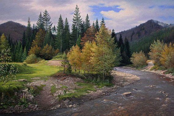 Large Landscape Painting Large Wall Art Realist Fain Art Autumn Landscape Oil Painting Mountain River Home Decor Karpathians Forest River Landscape Paintings Landscape Landscape Pictures