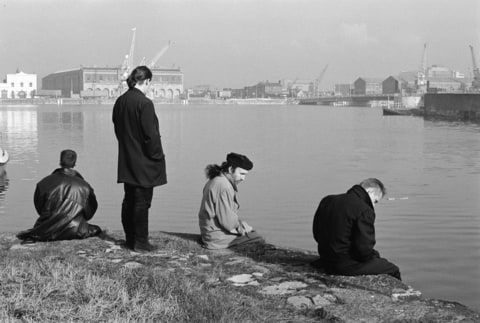 Archive photograph of world famous Irish rock band U2, pictured beside the River Thames during their visit to Britain as part of their 18 month world tour.