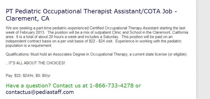 Part Time CNT School Occupational Therapist Assistant\/COTA Job - occupational therapist job description