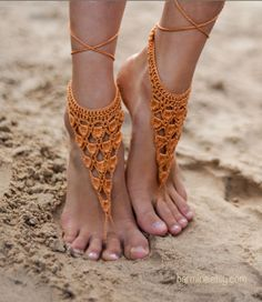 Crochet Gold Barefoot Sandals, Nude shoes, Foot bohemian jewelry, Victorian Lace, Sexy Yoga Anklet, Steampunk, Feet thongs, Boho accessorie £10.60