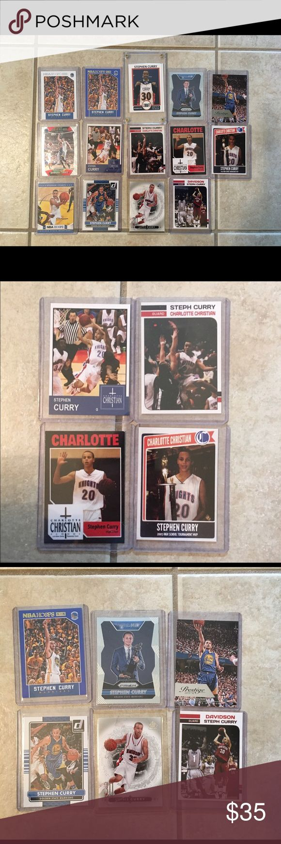 14 Stephen Curry cards! Today only! Fantastic deal!  4 high school cards, 2 Davidson college and 8 NBA cards!!! Accessories