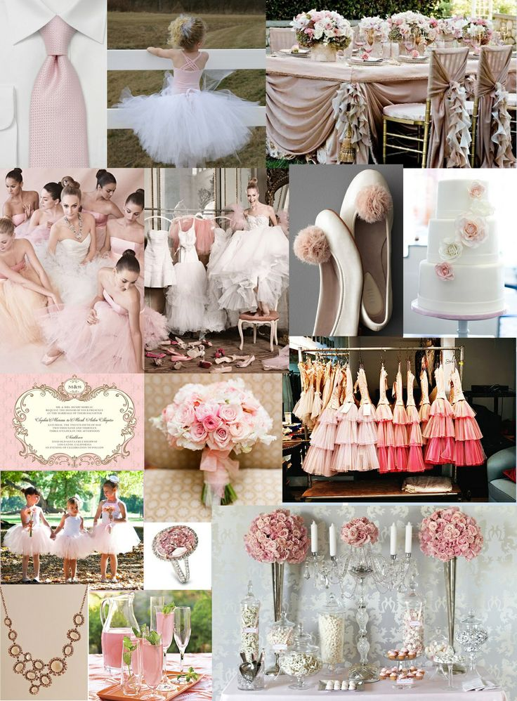 all pink, inspiration board, ballet shoes, white and pink wedding cake, pink tutus, pink dresses, pink ties, off pink table setup, pink necklace, pink drinks, pink bouquet