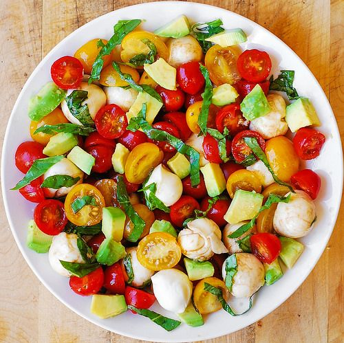 Tomato Basil Avocado Mozzarella Salad with Balsamic Dressing..quick & sooo flavoursome, will definitely be making this again