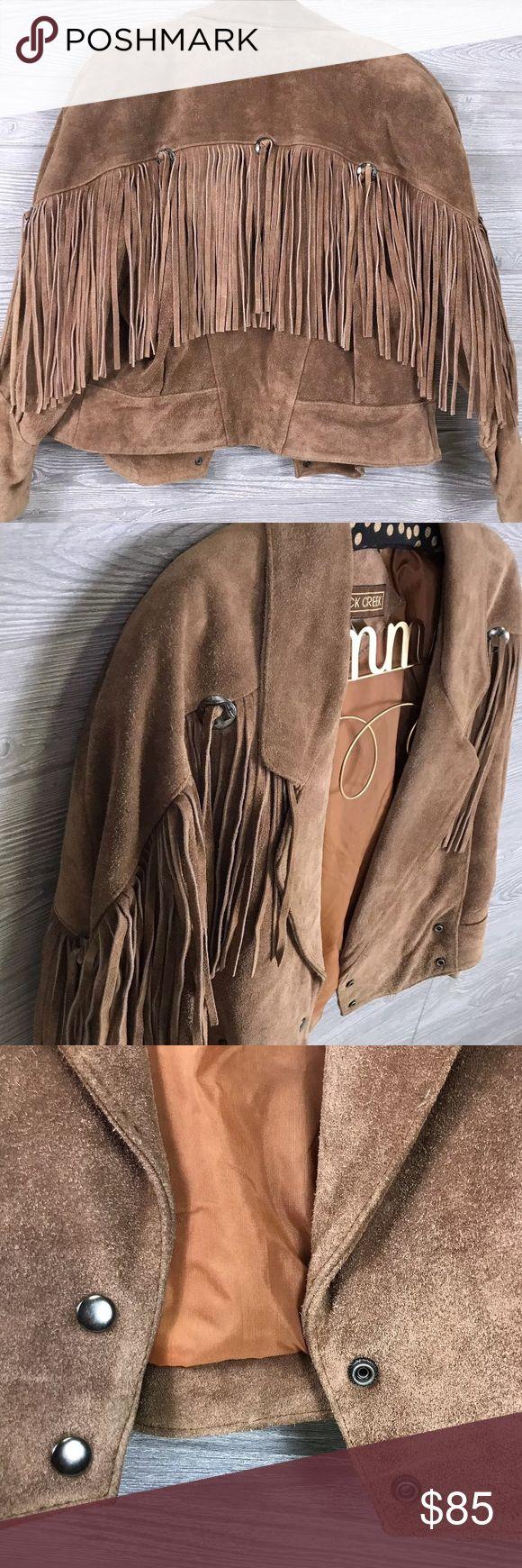 "Rock Creek Cowboy Western Fringe Leather Jacket 🌻Rock Creek Cowboy Western Fringed Leather Jacket Size Medium  Measurements all taken laying flat: armpit to armpit - 21"" sleeve length - 28"" length - 24"" Rock Creek Jackets & Coats"