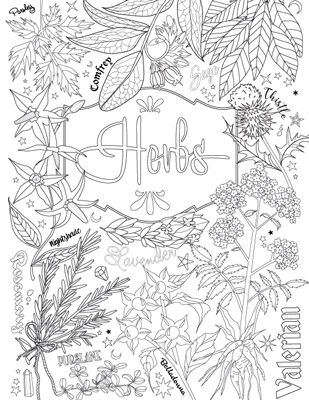 Magic Herbs Coloring Page BOS Magickbohemian