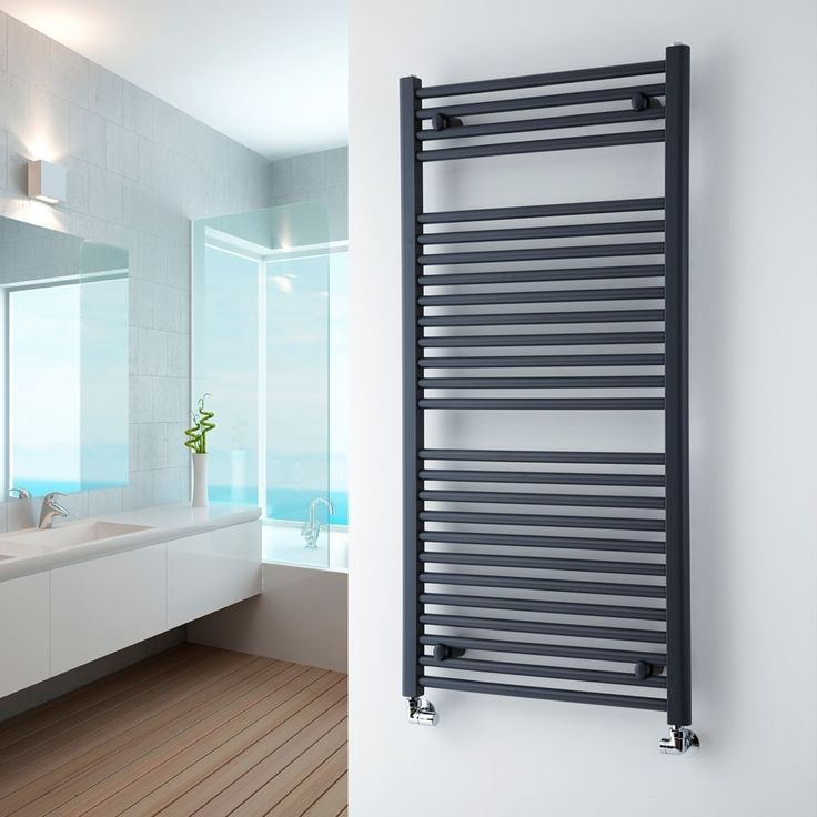milano brook anthracite flat heated towel rail 1200mm x 600mm - Designer Heated Towel Rails For Bathrooms