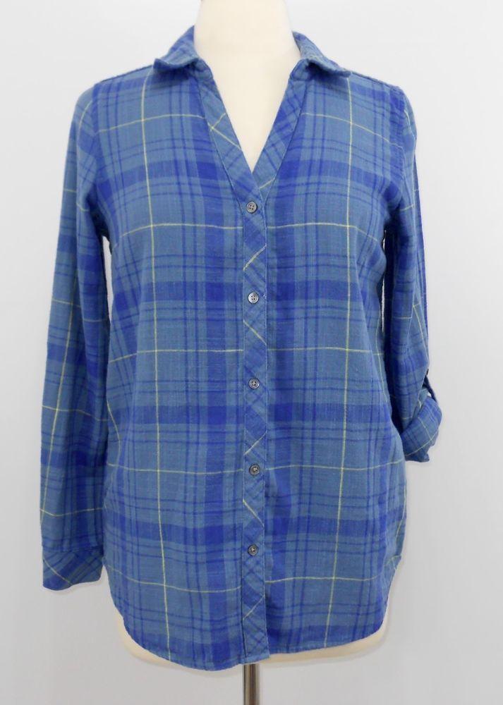 43b724eb Soft Joie Small Button Down Shirt Blue Plaid 2 Ply Cotton Long Tab Sleeve  #SoftJoie #ButtonDownShirt #Casual