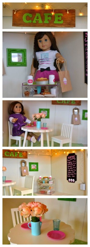 """Transform an empty cabinet into a bakery, cafe or other room for an American Girl 18"""" doll with some inexpensive items. #americangirl"""