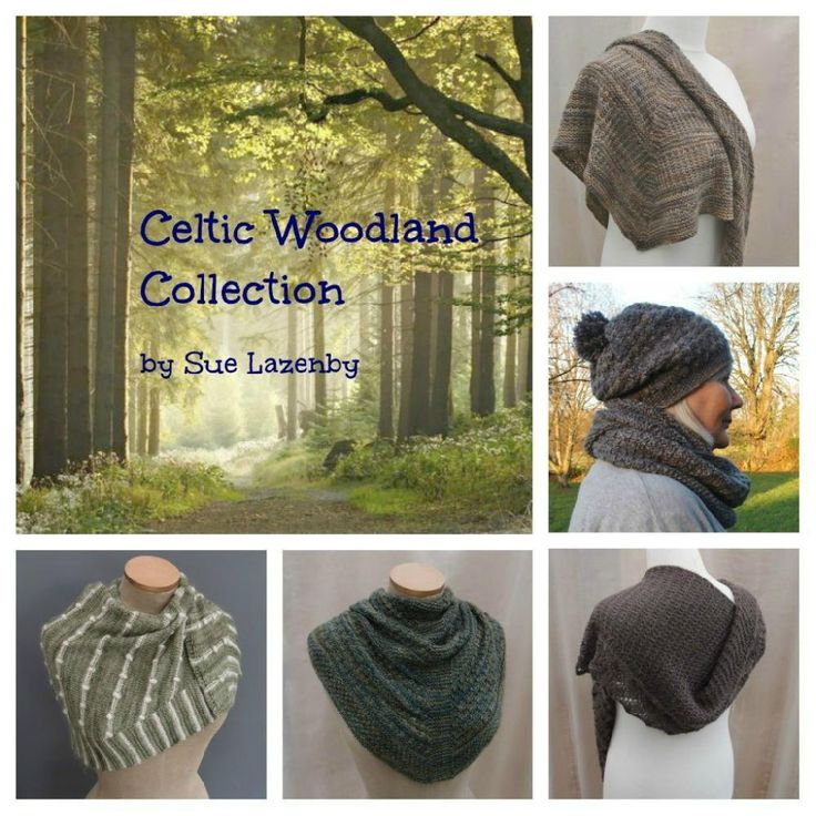 A collection of 4 shawls a cowl and hat, all inspired by the textures and colours in welsh woodlands.Bark, a triangular shawl in fingering weight. Fallen Leaves, a sideways scarf or shawl in sports weight. Lichen & Moss cowl & hat in DK weight. Lichen & Moss shawl in fingering weight. Wood Anemone shawl a sideways shawl in fingering weight.Note that purchasing the e-Book gives you a discount over purchasing each pattern separately. Please see the individual patterns for full detai...